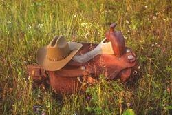 Western cowboy saddle - leather ammunition