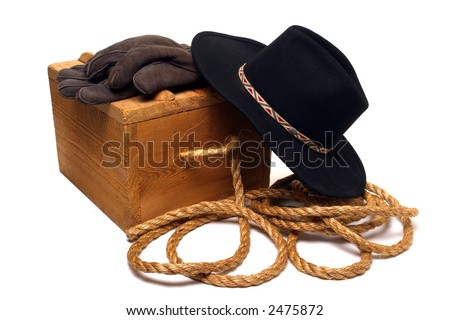 Western Cowboy Tools: Hat, Gloves And Rope Stock Photo 2475872 ...