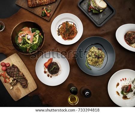 Western cuisine recipes flat lay