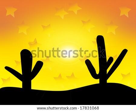 Western Desert Sunset, vector also available - stock photo