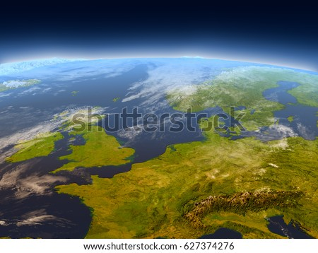 Western Europe from Earth's orbit in space. 3D illustration with detailed planet surface, mountains and atmosphere. Elements of this image furnished by NASA.