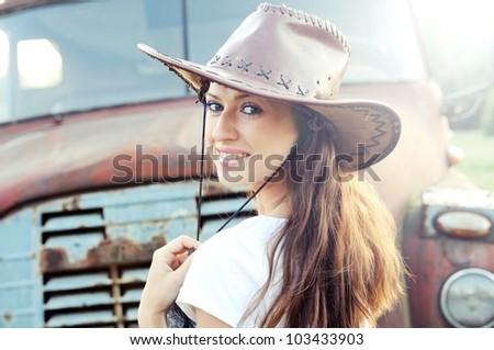 Western girl - stock photo