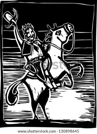 Western image of an American Cowboy on a horse in woodcut style. - stock photo