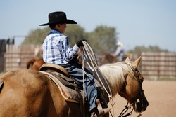 Western lifestyle with young child rider on palomino horse in saddle on ranch close up with rope.