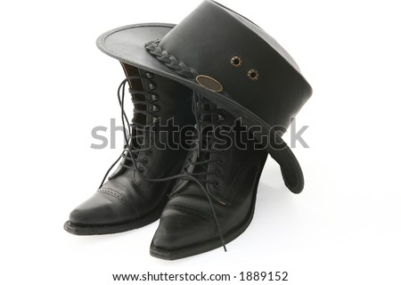 western line-dance shoes and hat on white background