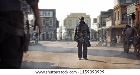 Western outlaw facing off against a cowboy in a classic gunfight in the center of town. 3d rendering