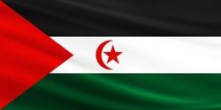 Western Sahara flag with fabric texture