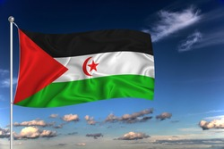 Western Sahara national flag waving in the wind against deep blue sky.  International relations concept.