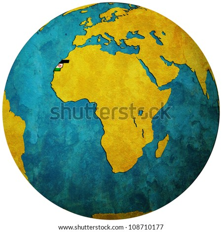 western sahara territory with flag on map of globe isolated over white