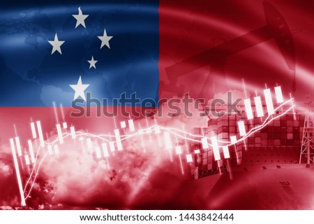 Western Samoa flag, stock market, exchange economy and Trade, oil production, container ship in export and import business and logistics.