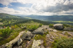 Western Sayan mountains, blue sky, natural Park Ergaki, rocks, lakes, rocks, fog, hills, tourism, vacation, beautiful expanses of Siberia, the test of strength of spirit, sunlight, clouds, forest