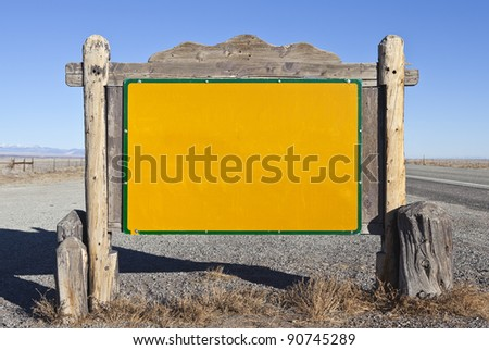 Western style blank highway message sign.