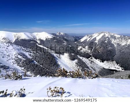 Western Tatras called Tatry Zachodnie in Polish, covered with snow. The trail leading to Trzydniowianski Summit. #1269549175