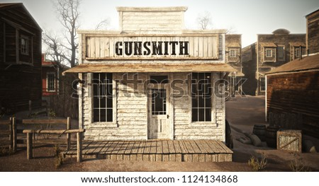 Western town rustic gunsmith weapons and ammunition's supply store. 3d rendering . Part of a Western town series.