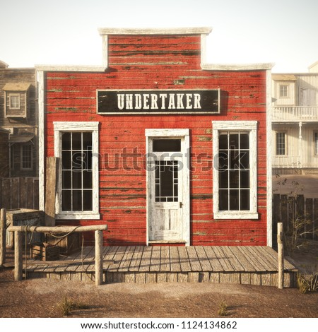 Western town rustic undertaker. 3d rendering . Part of a Western town series. ストックフォト ©