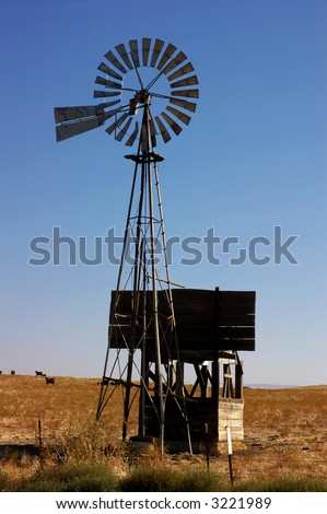 Western Water Pumping Livestock Ranch Windmill On California Rangeland