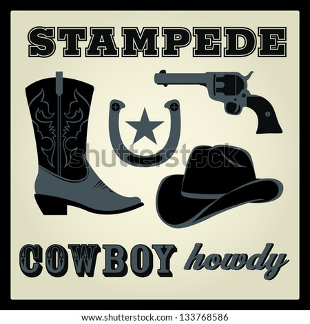 Western words and iconic western vector images. For High Quality Graphic Projects.