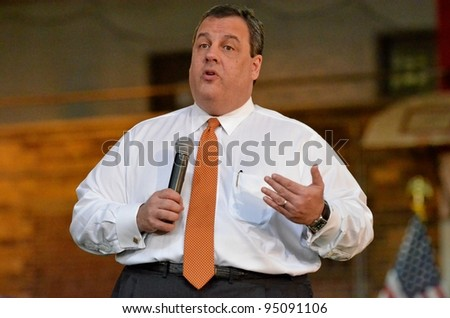 "WESTFIELD,NJ-FEBRUARY 8:New Jersey Governor Chris Christie continued his ""New Jersey Comeback"" theme at a town hall meeting held at the Westfield Armory located in Westfield,N.J. on February 8,2012."