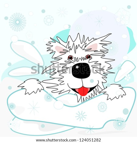 Westie in the snow.  Fun times for a cartoon West Highland White Terrier that is playing in the snow.