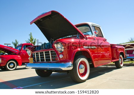 WESTLAKE, TEXAS - OCTOBER 19: A 1955 Chevrolet pickup truck is on display at the 3rd Annual Westlake Classic Car Show on October 19, 2013 in Westlake, Texas.