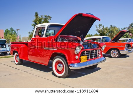 WESTLAKE, TEXAS - OCTOBER 27: A 1955 Chevrolet pickup truck on display at the 2nd Annual Westlake Classic Car Show on October 27, 2012 in Westlake, Texas.