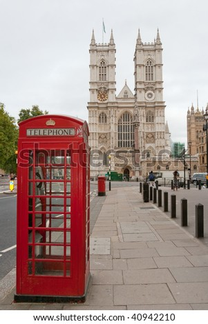 Westminster Abbey and red phone booth