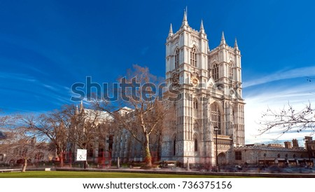 Photo of  Westminster Abbey, Collegiate Church of Saint Peter at Westminster, City of Westminster, London, England, UK.