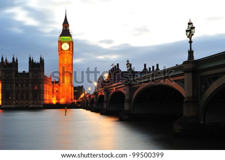 Westminster Bridge and Big Ben on the river thames