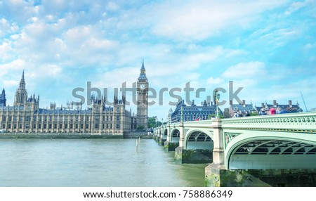 Westminster Bridge and Palace on a beautiful sunny day - London. #758886349