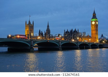 Westminster Bridge and the Houses of Parliament at dusk.