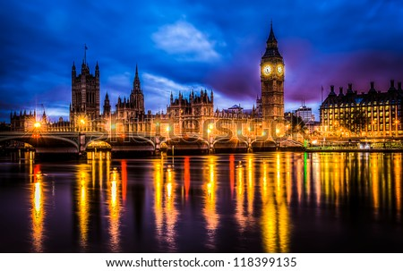 westminster bridge by night hdr image