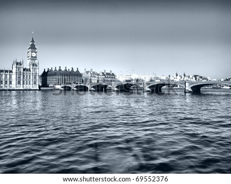 Westminster bridge panorama view in London, UK - high dynamic range HDR - black and white