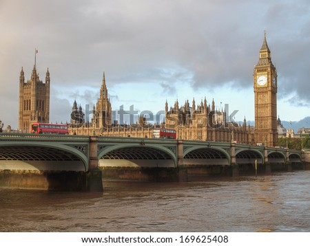 Westminster Bridge panorama with the Houses of Parliament and Big Ben in London UK