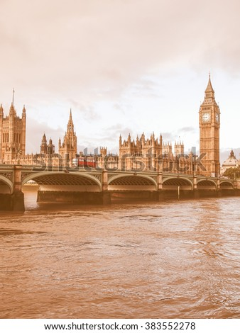 Westminster Bridge panorama with the Houses of Parliament and Big Ben in London UK vintage
