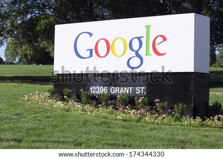 WESTMINSTER, COLORADO/U.S.A.- JULY 9, 2011: Google Corporation entrance sign. Flowers and grass surround the sign, with trees in the background.