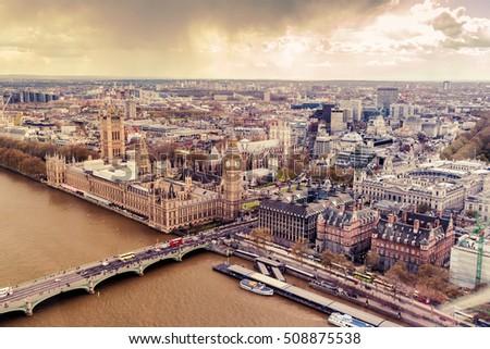 westminster in london aerial...