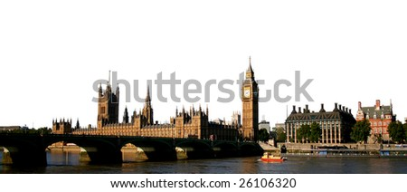 Westminster Palace and bridge against white background