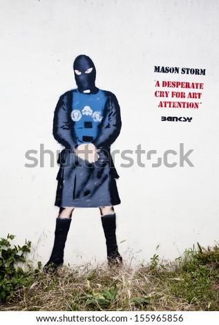 Weston Super Mare, Uk - 3rd July 2011: Bansky\'S &Quot;Mason Storm, A Desperate Cry For Art Attention&Quot; Graffiti In Weston Super Mare.