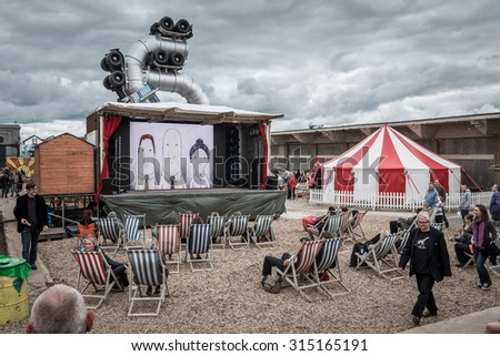 WESTON-SUPER-MARE, UK - SEPTEMBER 3 2015: Outdoor Cinema at Banksy\'s Dismaland Bemusement Park. A five week show in the seaside town of Weston-Super-Mare.