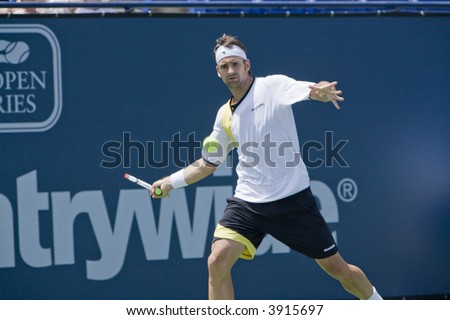 WESTWOOD, CA - JULY 16: German professional tennis player, Nicolas Kiefer in a match against Russian Teimuraz Gabashvili at the Countrywide Classic on July 16th, 2007 in Westwood, CA.