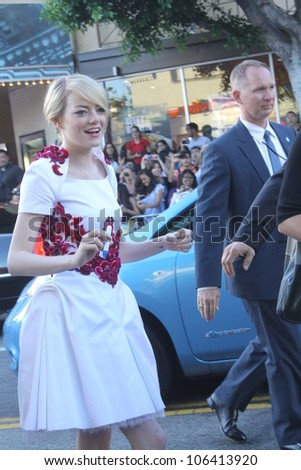 "WESTWOOD CA - JUNE 28: Actor Emma Stone attends the ""The Amazing Spiderman"" premiere held at the Regency's Village Theatre June 28, 2012 Westwood, CA"