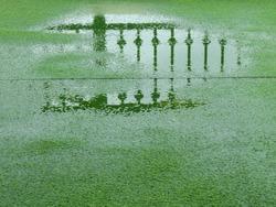 wet artificial grass floor after rain