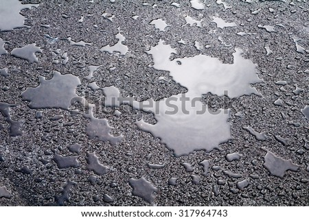 Wet asphalt covered with puddles of water reflecting the sky.