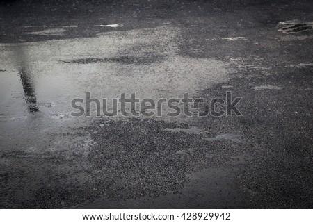 Shutterstock Wet asphalt, puddles