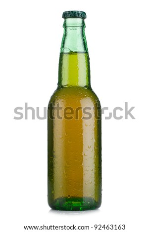 Wet bottle of beer on white background