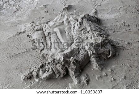 wet cement concrete on  floor