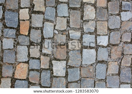 Wet cobbled stone sidewalk after the rain in historical center in Prague. Closeup shot
