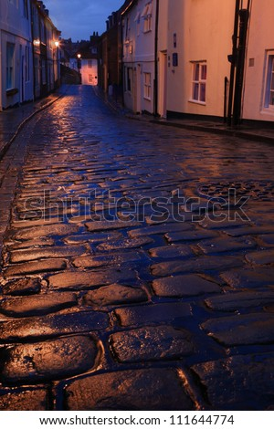 Wet cobbles of Whitby North Yorkshire