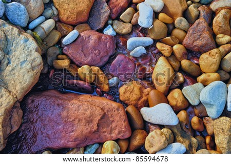 Wet colored pebbles on the sea beach