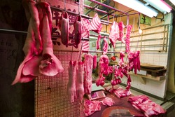 Wet dry market poultry pork butcher fish seafood vegetable farmer stalls streets of Asian gambling gaming capital of the world life of locals natives indigenous shops commercial buildings